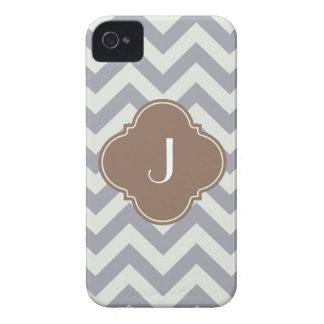 Light Grey Chevron Custom Monogram Case-Mate iPhone 4 Cases