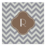 Light Grey Chevron Custom Monogram Poster