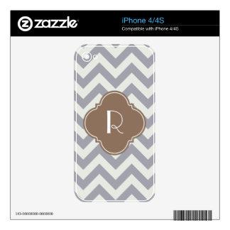 Light Grey Chevron Custom Monogram Decals For iPhone 4S