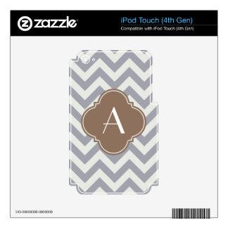 Light Grey Chevron Custom Monogram Skin For iPod Touch 4G