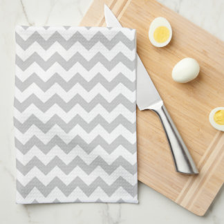 Light Grey Chevron - Custom Text Hand Towel