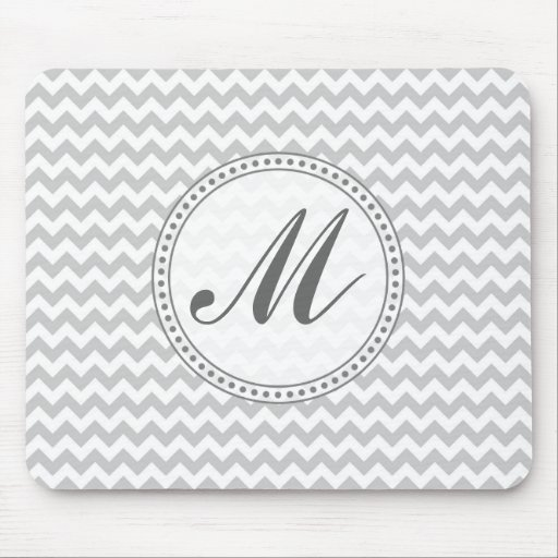 Light Grey Chevron - Custom Text Mouse Pads