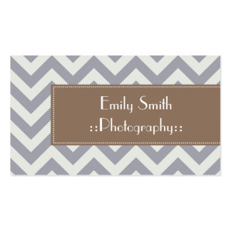 Light Grey Chevron Sophisticated Business Cards
