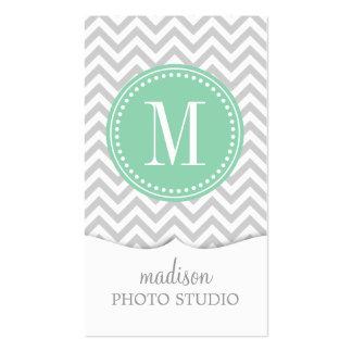 Light Grey Chevron Zigzag Personalized Monogram Business Cards