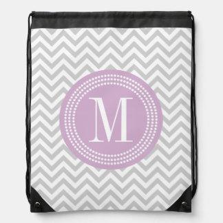 Light Grey Chevron Zigzag Personalized Monogram Drawstring Backpack