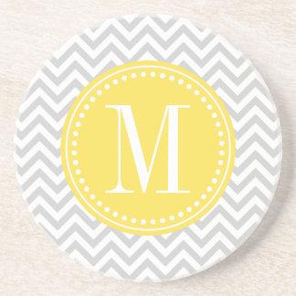 Light Grey Chevron Zigzag Personalized Monogram Drink Coaster