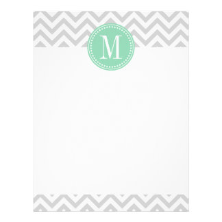 Light Grey Chevron Zigzag Personalized Monogram Letterhead