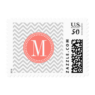 Light Grey Chevron Zigzag Personalized Monogram Postage