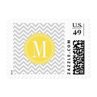 Light Grey Chevron Zigzag Personalized Monogram Stamps