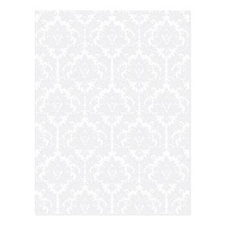 Light Grey Damask pattern Postcard
