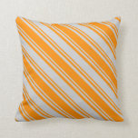 [ Thumbnail: Light Grey & Dark Orange Colored Pattern Pillow ]