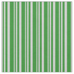 [ Thumbnail: Light Grey & Forest Green Lines Pattern Fabric ]