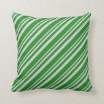 [ Thumbnail: Light Grey & Forest Green Lines Pattern Pillow ]