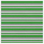 [ Thumbnail: Light Grey, Gray & Green Pattern of Stripes Fabric ]