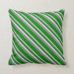 [ Thumbnail: Light Grey, Gray & Green Pattern of Stripes Pillow ]