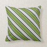 [ Thumbnail: Light Grey, Green, and Black Colored Stripes Throw Pillow ]