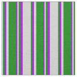 [ Thumbnail: Light Grey, Green, and Dark Violet Lines Fabric ]