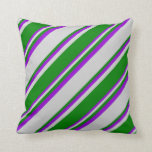 [ Thumbnail: Light Grey, Green, and Dark Violet Lines Pillow ]