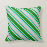 [ Thumbnail: Light Grey, Green, and Turquoise Colored Pattern Throw Pillow ]