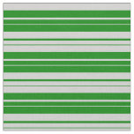 [ Thumbnail: Light Grey & Green Colored Stripes Fabric ]