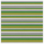 [ Thumbnail: Light Grey, Grey, Dark Green, and Green Lines Fabric ]