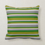 [ Thumbnail: Light Grey, Grey, Dark Green, and Green Lines Throw Pillow ]