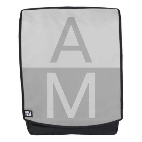 Light Grey & Grey Modern Initials Monogram Backpack