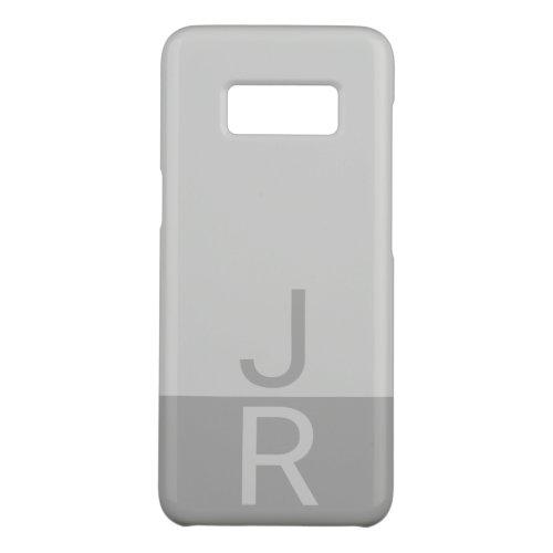 Light Grey & Grey Modern Initials Monogram Phone Case