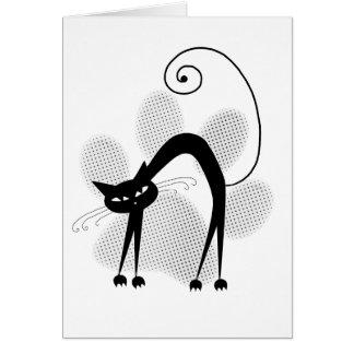 Light Grey Halftone Paw Print & Black Cat Card