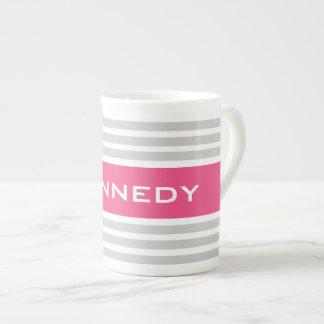 Light Grey & Hot Pink Stripes & Custom Monogram Tea Cup