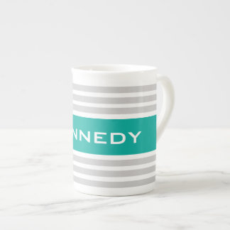 Light Grey & Jade Stripes & Custom Monogram Tea Cup
