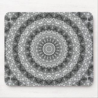 Light Grey Kaleidoscope / Mandala Mouse Pad