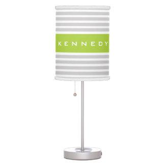 Light Grey & Lime Green Stripe Pattern Desk Lamps