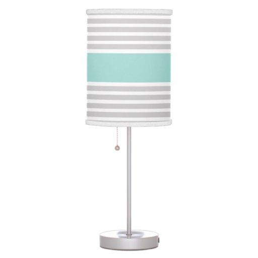 Light Grey & Mint Green Stripe Pattern Table Lamps