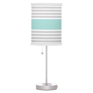 Light Grey & Mint Green Stripe Pattern Table Lamp