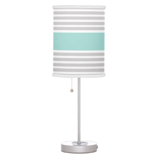 Light Grey Mint Green Stripe Pattern Table Lamp Zazzle