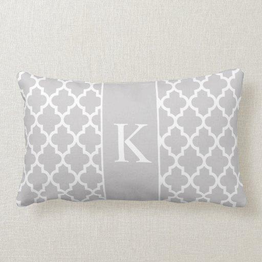 Light Grey Moroccan Custom Monogram Throw Pillow