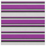 [ Thumbnail: Light Grey, Purple & Black Colored Lines Fabric ]