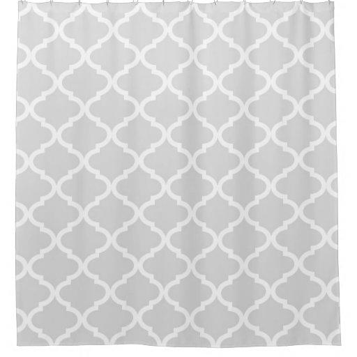 Light Grey Quatrefoil Lattice Shower Curtain Zazzle