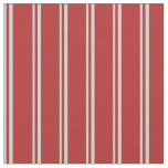 [ Thumbnail: Light Grey & Red Colored Stripes/Lines Pattern Fabric ]