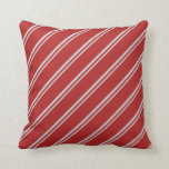 [ Thumbnail: Light Grey & Red Colored Stripes/Lines Pattern Throw Pillow ]