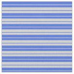 [ Thumbnail: Light Grey & Royal Blue Lined/Striped Pattern Fabric ]