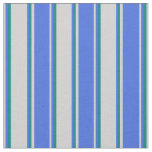 [ Thumbnail: Light Grey, Royal Blue & Teal Colored Lines Fabric ]