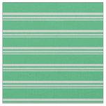 [ Thumbnail: Light Grey & Sea Green Colored Striped Pattern Fabric ]