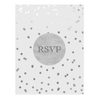 Light Grey & Silver Shiny Confetti Dots RSVP Postcard