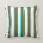 [ Thumbnail: Light Grey, Slate Gray, Olive Green, White & Aqua Throw Pillow ]
