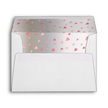 Professional Business Light Grey Tiny Rose Hearts Silver Inside Envelope
