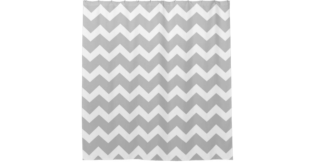 Light Grey White Chevron Stripes Shower Curtain Zazzle