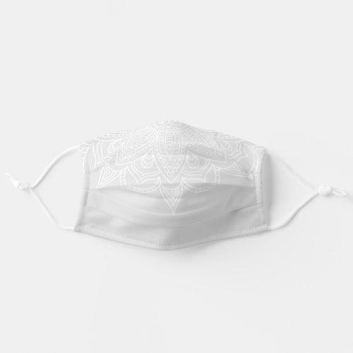 Light Grey  White Mandala Bandana Style Covid 19 Cloth Face Mask