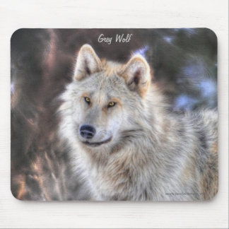 Light Grey Wolf & Winter Trees Mouse Pad